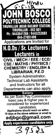 HODs,Sr Lecturer and Lecturers in BTech Courses (John Bosco Polytechnic College)