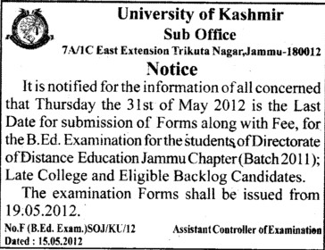 Dates for Submission of form for BEd (University of Kashmir Hazbartbal)