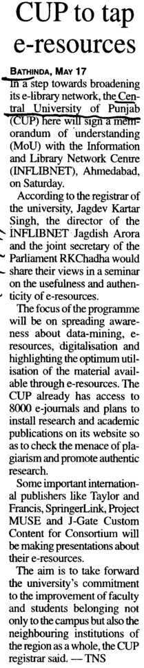 CUP to tap e resources (Central University of Punjab)