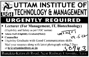 Lecturer and Counsellor (Uttam Institute of Management Studies)