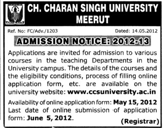 Various Courses (Ch Charan Singh University)