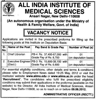 Chief Librarian and Executive Engineer (All India Institute of Medical Sciences (AIIMS))