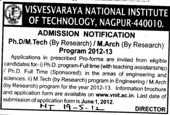 PhD and Mtech Courses (Visvesvaraya National Institute of Technology (VNIT))