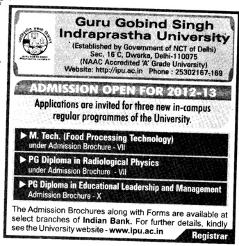 MTech and PG Diploma Course (Guru Gobind Singh Indraprastha University GGSIP)