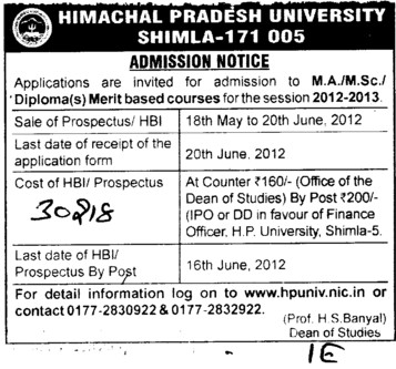 MA,MSc and Diploma Courses (Himachal Pradesh University)