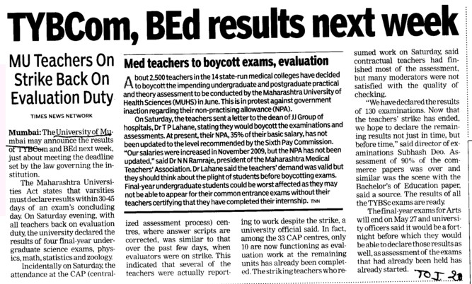 TYMCOM, BEd results next week (University of Mumbai)