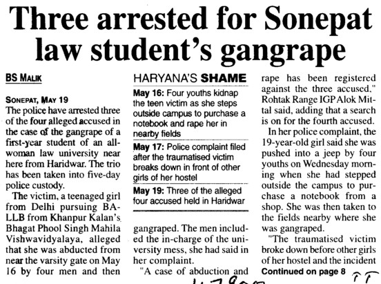 Three arrested for Sonepat law students gangrape (BPS Mahila Vishwavidyalaya Khanpur Kalan)