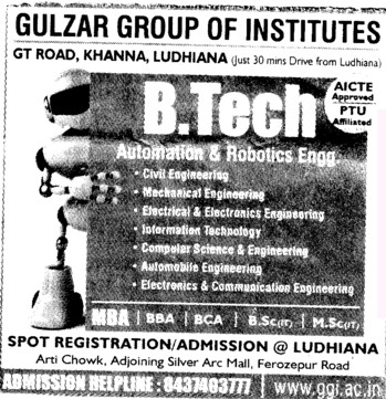 BTech in various streams (Gulzar Group of Instituties Khanna)
