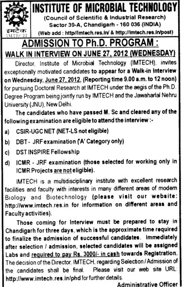 PhD Programme 2012 (Institute of Microbial Technology (IMTECH))
