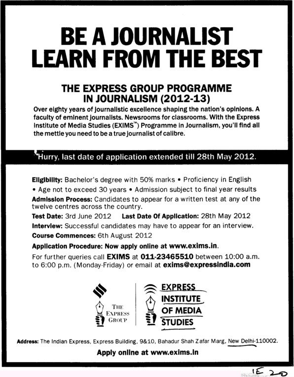 The Express Group Programme in Journalism 2012 (Express Institute of Media Studies)