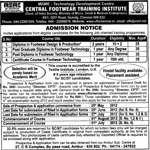 Diploma in Footwear Design and Production etc (Central Footwear Training Institute)