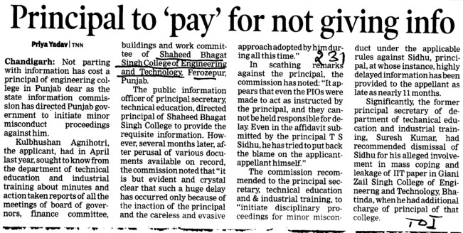 Principal to pay for not giving info (Shaheed Bhagat Singh State (SBBS) Technical Campus)