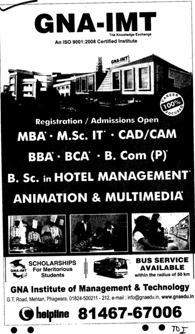 MBA,BBA,BCA and PGDCA etc (GNA Institute of Management and Technology)