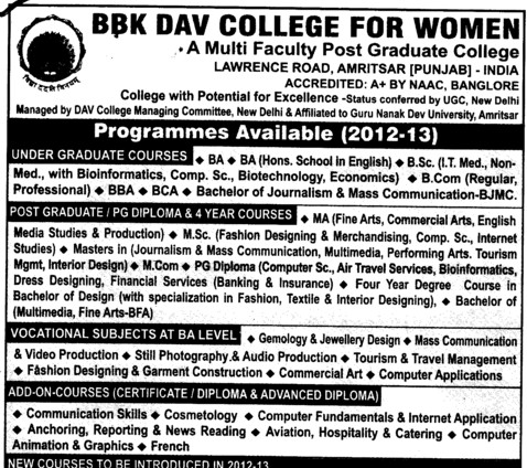 UG and PG Courses (BBK DAV College for Women)