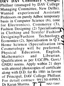 Asstt Professor on adhoc basis (DRV DAV Centenary College)
