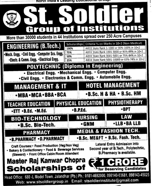 MBA,MCA,BBA and BCA Courses (St Soldier Group)