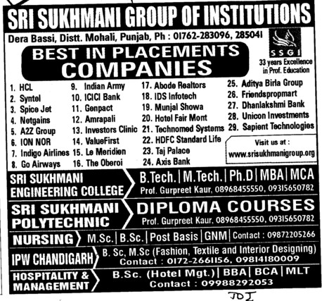 BTech,MTech and MBA Courses etc (Sri Sukhmani Group of Institutes)