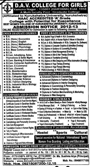 BA,BBA,MCA and MBA Courses etc (DAV College for Girls)