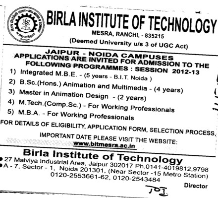 MBE,MTech and MBA Courses etc (Birla Institute of Technology (BIT Mesra))