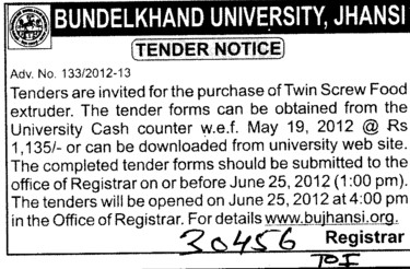 Purchase of Twin Screw Food Extruder (Bundelkhand University)