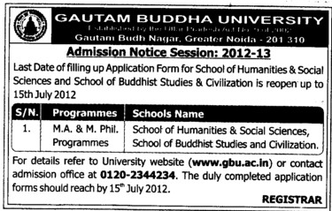 MA and MPhil courses (Gautam Buddha University (GBU))
