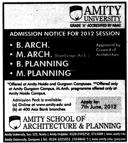 B Arch and M Planning etc (Amity University Manesar)