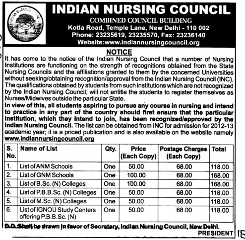ANM and GNM Courses etc (Indian Nursing Council (INC))