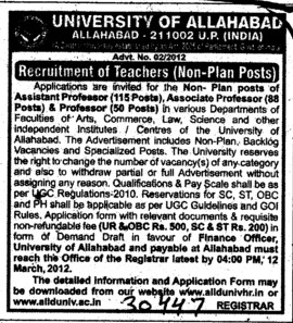 Asstt Professor and Associate Professor (University of Allahabad (UoA))