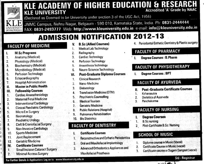 MSc, BSc, Post Graduate Diploma Courses etc (KLE University)