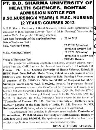 BSc Nursing and MSc Nursing Courses (Pt BD Sharma University of Health Sciences (BDSUHS))