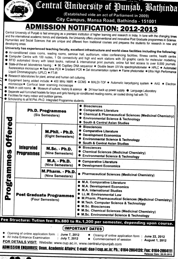 MA,PhD and M Phil Programmes etc (Central University of Punjab)