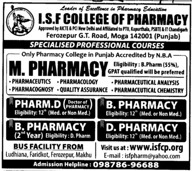 M Pharmacy Course (ISF College of Pharmacy)