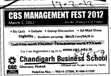 BBA, BCom and BA etc (Chandigarh Business School)