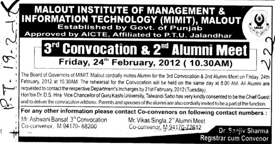 3rd Convocation and Alumni Meet 2012 (Malout Institute of Management and Information Technology MIMIT)