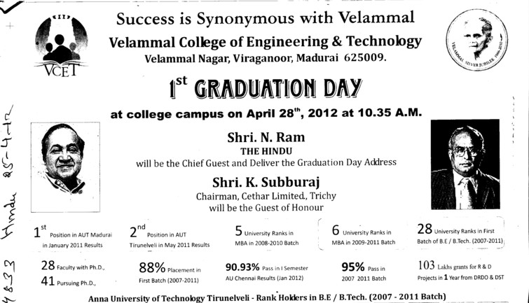 1st Graduation Day (Velammal Engineering College)