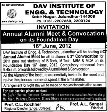 Annual Alumni Meet and Convocation (DAV Institute of Engineering and Technology DAVIET)
