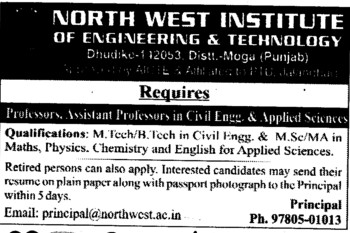 Professor,Asstt Professor and Associate Professor (North West Institute of Engineering and Technology NWIET Moga)