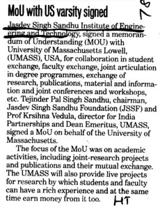 MoU with US varsity signed  (Jasdev Singh Sandhu Institute of Engineering and Technology JSSIET Kauli)