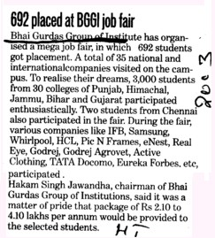 692 placed at BGGI job fair (Bhai Gurdas Group of Institutions)
