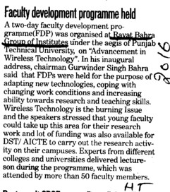 Faculty Development Programme held (Rayat and Bahra Group)