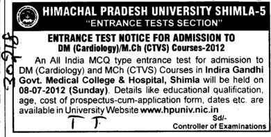 DM and MCh Courses 2012 (Himachal Pradesh University)