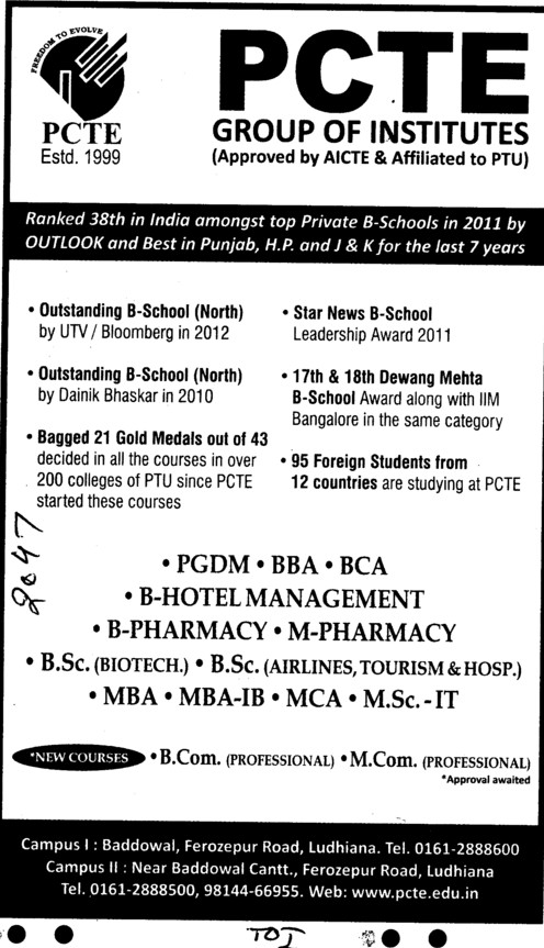 BBA,BCA,MBA and MSc IT Courses etc (PCTE Group of Insitutes Baddowal)