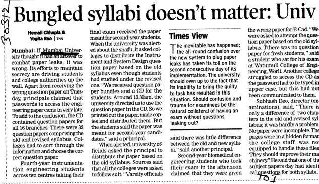 Bungled syllabi doesnt matter (University of Mumbai (UoM))