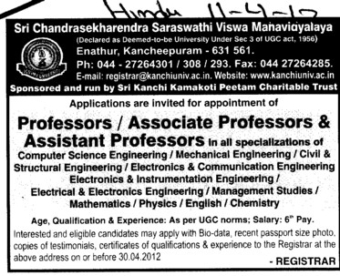 Professor,Asstt Professor and Associate Professor etc (Sri Chandrasekharendra Saraswathi Vishwa Mahavidyalaya Deemed University)
