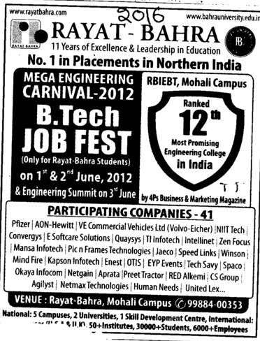 BTech Job Fest 2012 (Rayat and Bahra Group)