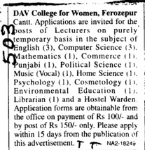 Lecturer on contract basis (DAV College for Women)