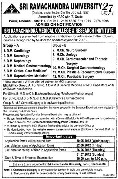 DM and MCh Courses 2012 (SRM University)