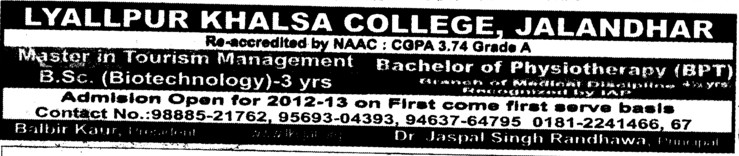 BSc in Biotechnology (Lyallpur Khalsa College of Boys)