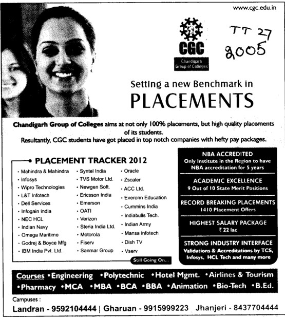 Placement Tracker 2012 (Chandigarh Group of Colleges)