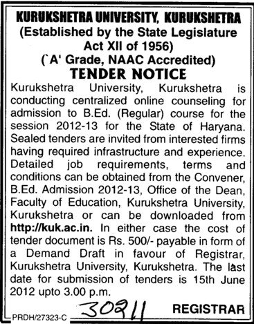 BEd Course 2012 (Kurukshetra University)